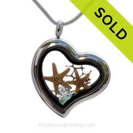 "Brilliant Love - Aqua Sea Glass, Two Starfish & Heart ""Diamond""  - Stainless Steel Heart Locket"