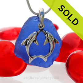 "Beautiful Kissing Dolphins Sterling Silver Necklace with Vivid Cobalt Blue Sea Glass - 18"" STERLING CHAIN INCLUDED. SOLD - Sorry this Sea Glass Necklace is NO LONGER AVAILABLE!"