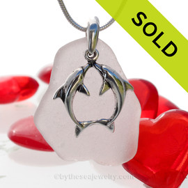 "Beautiful Kissing Dolphins Sterling Silver Necklace with Long and pale Lavender Sea Glass - 18"" STERLING CHAIN INCLUDED.  SOLD - Sorry this  Rare Sea Glass Necklace is NO LONGER AVAILABLE!"