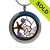 Rare Lavender sea glass and crystal Amethyst gemstones make this a great mini locket necklace for any February Beach Lover