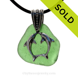 "Kissing Dolphins Sterling Silver Necklace with Green Sea Glass - 18"" Neoprene Cord INCLUDED"