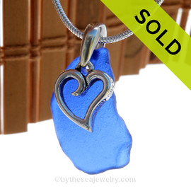 "Blue Sea Glass Necklace With Sterling Heart Charm - 18"" 1.2MM Solid Sterling Chain INCLUDED. SOLD - Sorry this Sea Glass Necklace is NO LONGER AVAILABLE!"