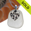Green Sea Green Sea Glass Necklace With Sterling Heart LOVE Charm