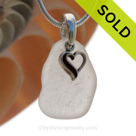Pure White Sea Glass Necklace With Small Sterling Heart Charm