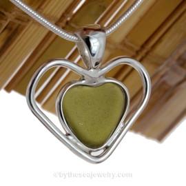Double Love - Wine & Sea Glass Lovers Green Genuine Sea Glass Heart In Deluxe Sterling Double Bezel© Necklace Pendant