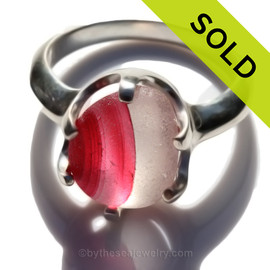 Hotness -  Hot Pink Natural UNALTERED Mixed Genuine Sea Glass Ring In Sterling  - Size 8 (Re-Sizeable)
