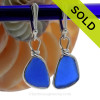 Bright Cobalt Blue Genuine Sea Glass Earings Solid Sterling Silver Original Wire Bezel© on Sterling Leverbacks. SOLD - Sorry these Rare Sea Glass Earrings are NO LONGER AVAILABLE!