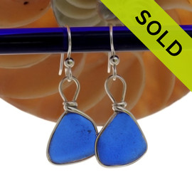 Cobalt Blue Genuine Sea Glass Earrings Solid Sterling Silver Original Wire Bezel©