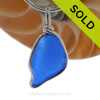 A nice naturally shaped blue sea glass pendant in our Original Wire Bezel setting. SOLD - Sorry this Rare Sea Glass Pendant is NO LONGER AVAILABLE!