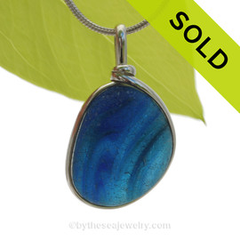 Spring Tidelines - ULTRA RARE Large Blue Multi Sea Glass Necklace Pendant In S/S Original Wire Bezel©