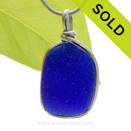VERY THICK Electric Cobalt Blue English Sea Glass Pendant In Sterling Original Wire Bezel©