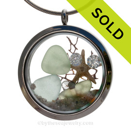 "Diamonds and Dunes - Seafoam and Pale Aqua Green Genuine Sea Glass With Starfish & ""Diamonds"" Gems Stainless Steel Locket"