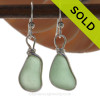 Genuine beach found small but thick Seafoam Green Sea Glass Earrings in a Solid Sterling Silver Original Wire Bezel© setting.