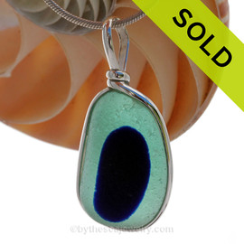 LARGE Spot of Cobalt in Aqua Green English Sea Glass Sterling Original Wire Bezel© Pendant.