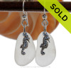 Winter Pure White Genuine Sea Glass Earrings W/ Sterling Seahorse Charms