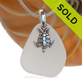"Perfect White Sea Green Sea Glass With Sterling Silver Sea Turtle Charm - 18"" STERLING CHAIN INCLUDED SOLD - Sorry this Sea Glass Necklace is NO LONGER AVAILABLE!"