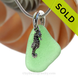 """Spring Green Sea Glass Necklace with Sterling Silver Seahorse Charm - 18"""" Solid Sterling Chain INCLUDED"""