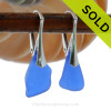 Simple and Elegant Genuine Cobalt Blue  Beach Found Sea Glass Earrings on Sterling Leverback Earrings.