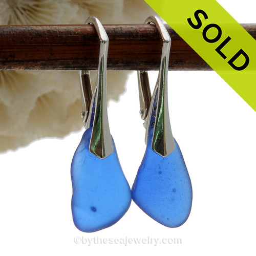 Simple and Elegant Genuine Cobalt Blue  Beach Found Sea Glass Earrings on Sterling Leverback Earrings.