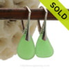 Simply Elegant- Green Genuine Sea Glass On Solid Sterling Silver Leverback Earring