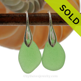 Simply Elegant -  PERFECT Natural Beach Found Green Sea Glass Earrings On Silver Silver Deco Hooks