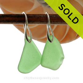Simply Elegant -  Larger Natural Beach Found Green Sea Glass Earrings On Silver Silver Deco Hooks