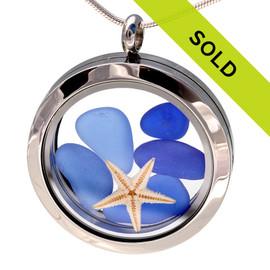 All Blues Sea Glass W/ Seastar In Stainless Locket