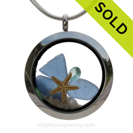 Carolina on my Mind  - Genuine Carolina Blue Beach Found Sea Glass, Starfish & Aquamarine Gem