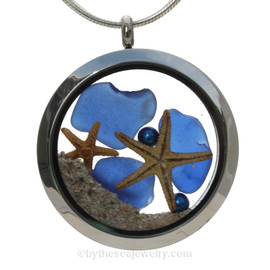 Blue Sea Glass & Blue Round Water Pearls, Starfish and Beach Sand - JUMBO 35MM Locket