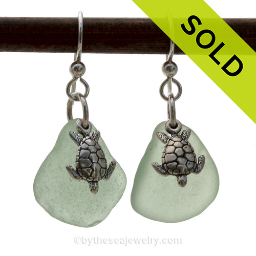 Beautiful Seafoam Green Beach Found Sea Glass Earrings On Sterling W/ Solid Sterling Turtle Charms