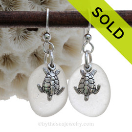 Larger White Perfect Beach Found Sea Glass Earrings On Sterling W/ Solid Sterling Turtle Charms