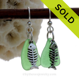 Green Genuine Sea Glass Earrings On Solid Sterling Silver W/ Sterling Fishbones Charms