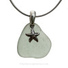 "The sea glass necklace comes on our 18"" solid sterling smooth snake chain (SHOWN and included)"