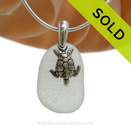 "P-E-R-F-E-C-T Pure White Sea Glass Necklace With Sea Turtle Charm Sterling Bail - 18"" STERLING CHAIN INCLUDED"