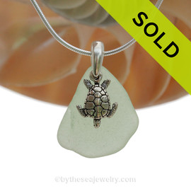 "Smaller Seafoam Green Sea Glass Necklace with Sterling Silver Sea Turtle Charm - 18"" Solid Sterling Chain INCLUDED"