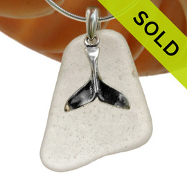 """Large White Sea Glass Necklace with Sterling Silver Whale Tail Charm - 18"""" Solid Sterling Chain INCLUDED"""