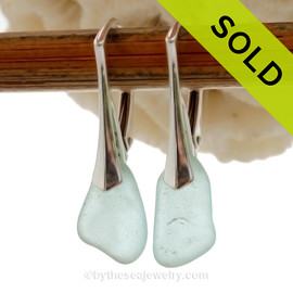 Beach Found Pale Aqua Blue Sea Glass Earrings on Sterling Silver Leverbacks.