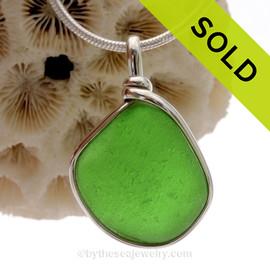 VIVID Green Genuine Sea Glass Pendant in our Original Wire Bezel© in Sterling Silver