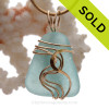 Perfect Vivid Aqua Blue Sea Glass Signature Waves©14K Goldfilled Setting Pendant