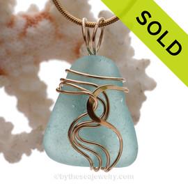 Perfect Vivid Aqua Blue Sea Glass Signature Waves©14K Goldfilled Setting Pendant