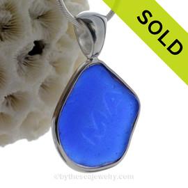 "Blue ""MA ""-  LARGE Cobalt Blue Genuine Sea Glass Bottle Bottom In Deluxe Wire Bezel© Pendant in Silver"