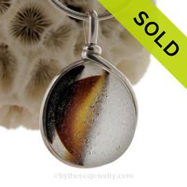 Fudge Sundae-  HUGE Mixed Amber English Sea Glass Necklace Pendant In S/S Original Wire Bezel©