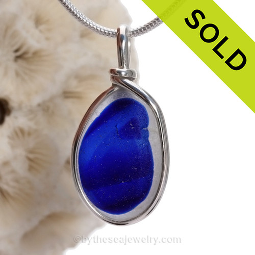 Electric Cobalt Blue Seaham multi sea glass set in Solid Sterling Silver Deluxe Wire Bezel© pendant setting.
