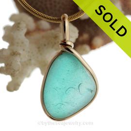 Aqua Haze - RARE Aqua Green Flashed Seaham Sea Glass Pendant In Gold Wire Bezel©