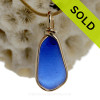 Vivid Antique Cobalt Blue Sea Glass Pendant in Gold Bezel