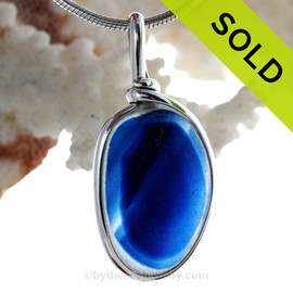 LARGE Mixed Striped Roayl Blue English Sea Glass Sterling Original Wire Bezel© Pendant