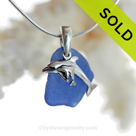 "Mother and Child - Rare Cobalt Blue Sea Glass With Sterling Silver Dolphins Charm - 18"" STERLING CHAIN INCLUDED"