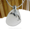 "Mother and Child - Pure White Sea Glass With Sterling Silver Dolphins Charm - 18"" STERLING CHAIN INCLUDED"
