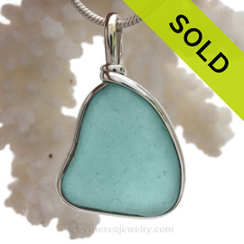 Tropical Aqua Blue Genuine Sea Glass Pendant In Sterling Original Wire Bezel Setting©