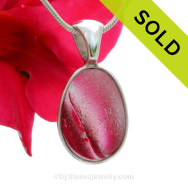 HOTNESS - Super ULTRA ULTRA RARE Mixed Hot Pink Multi Sea Glass Pendant In Deluxe Wire Bezel Setting©